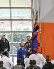 Wide receiver Trevion Thompson had a vertical leap of 36 inches during Clemson's Pro Day at the Poe Indoor Facility on March 14.