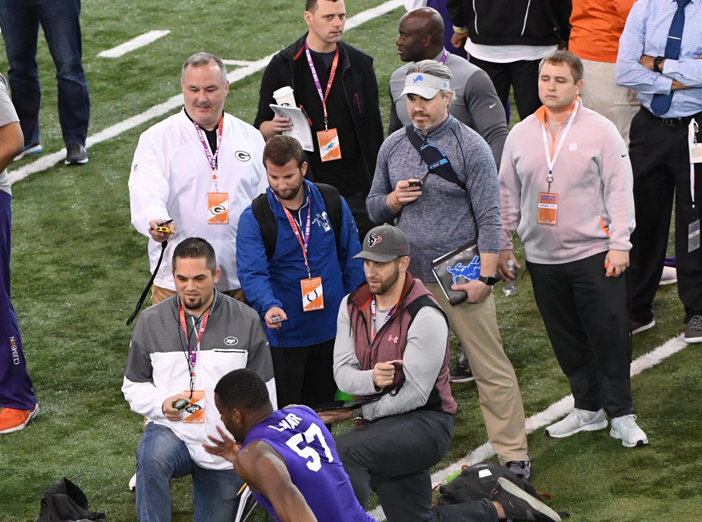 Defender Tre Lamar III is timed by scouts during Clemson pro day at the Poe Indoor Facility in Clemson Thursday, March 14, 2019.