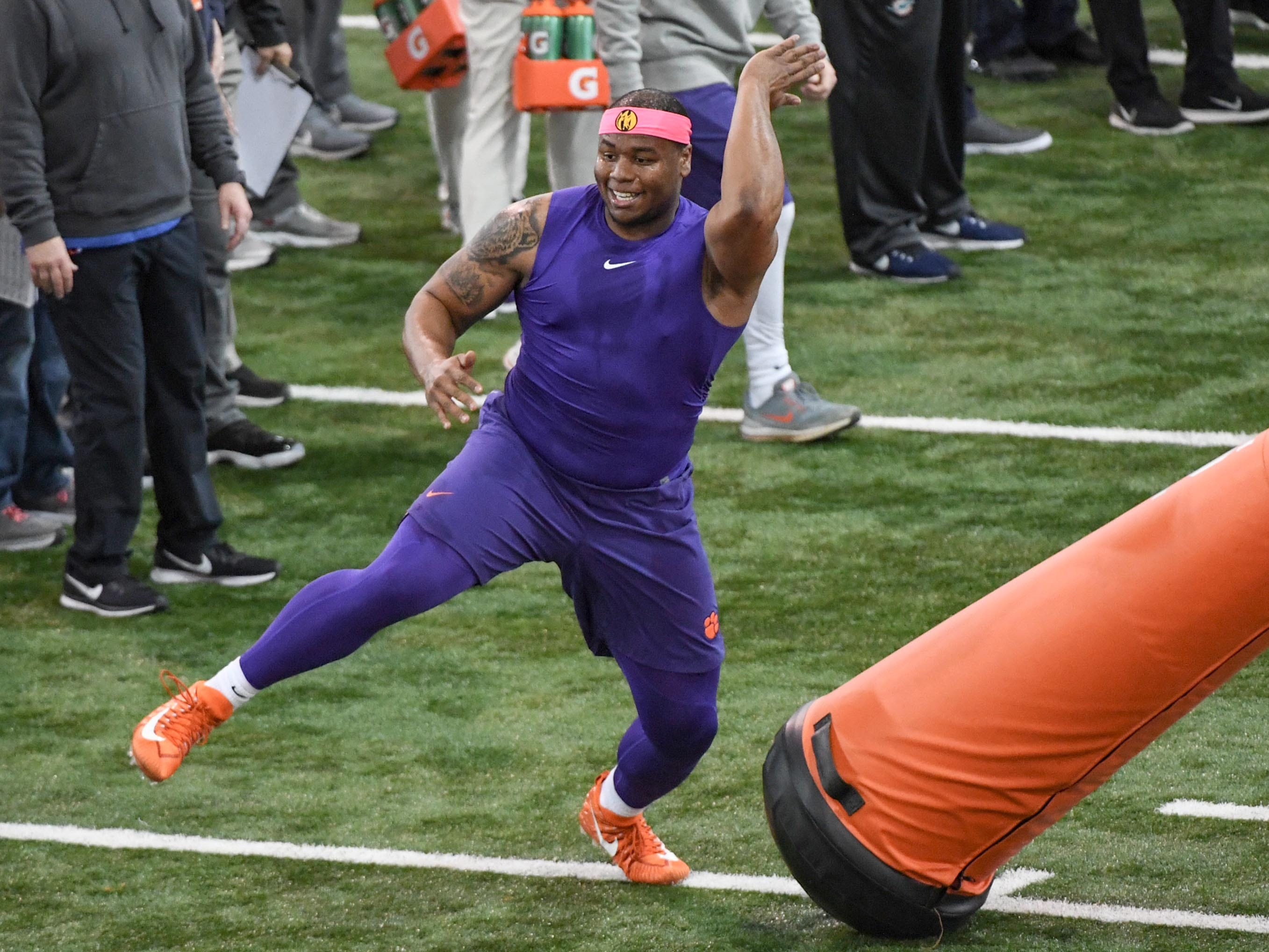 Defensive lineman Dexter Lawrence shows skills to scouts during Clemson pro day at the Poe Indoor Facility in Clemson Thursday, March 14, 2019.