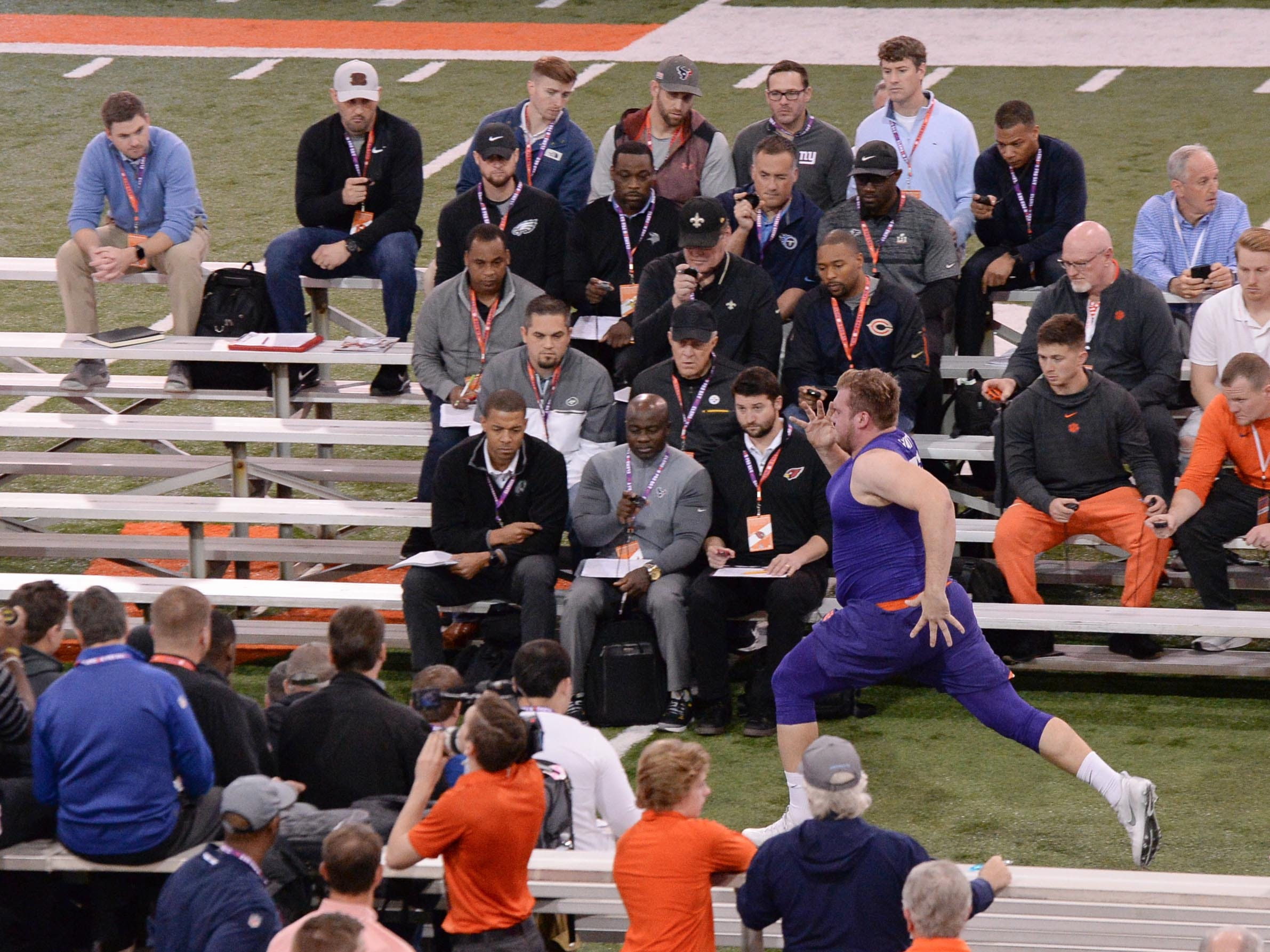 Offensive lineman Mitch Hyatt runs a 4.52 40-yard dash during Clemson pro day at the Poe Indoor Facility in Clemson Thursday, March 14, 2019.