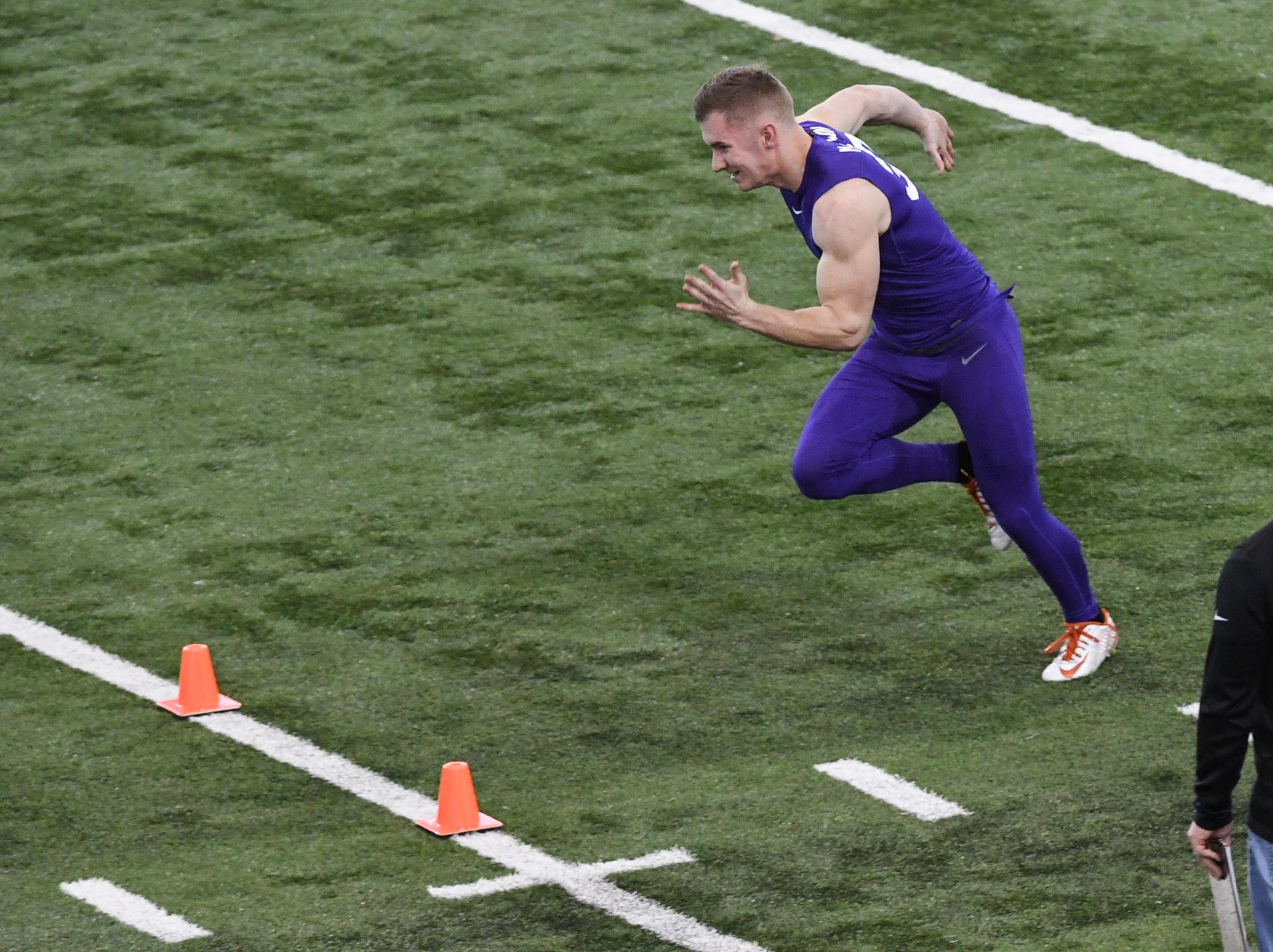 Ryan MacLain during Clemson pro day at the Poe Indoor Facility in Clemson Thursday, March 14, 2019.