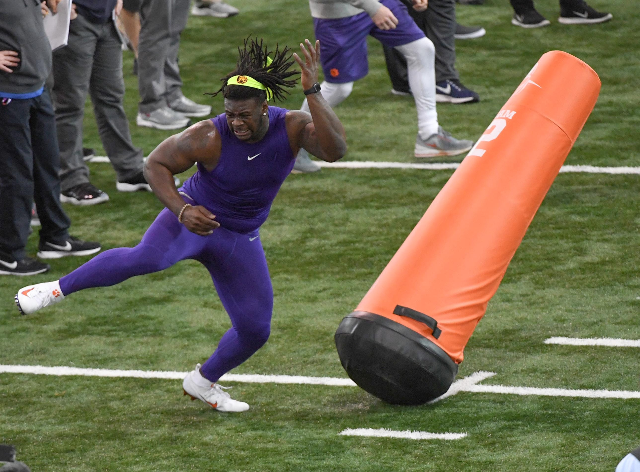 Defensive lineman Albert Huggins Jr. during Clemson pro day at the Poe Indoor Facility in Clemson Thursday, March 14, 2019.