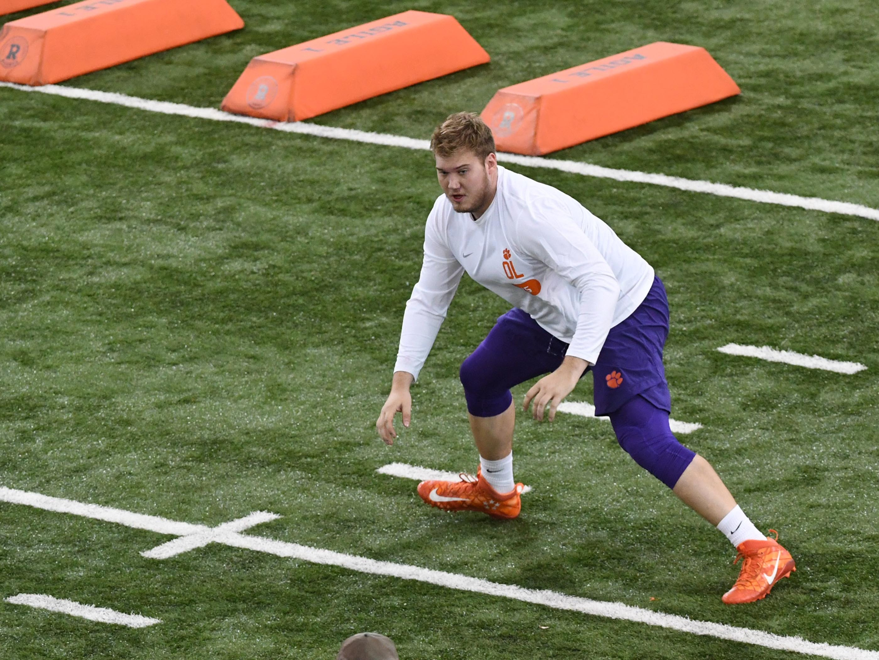 Offensive lineman Mitch Hyatt is tested during Clemson pro day at the Poe Indoor Facility in Clemson Thursday, March 14, 2019.