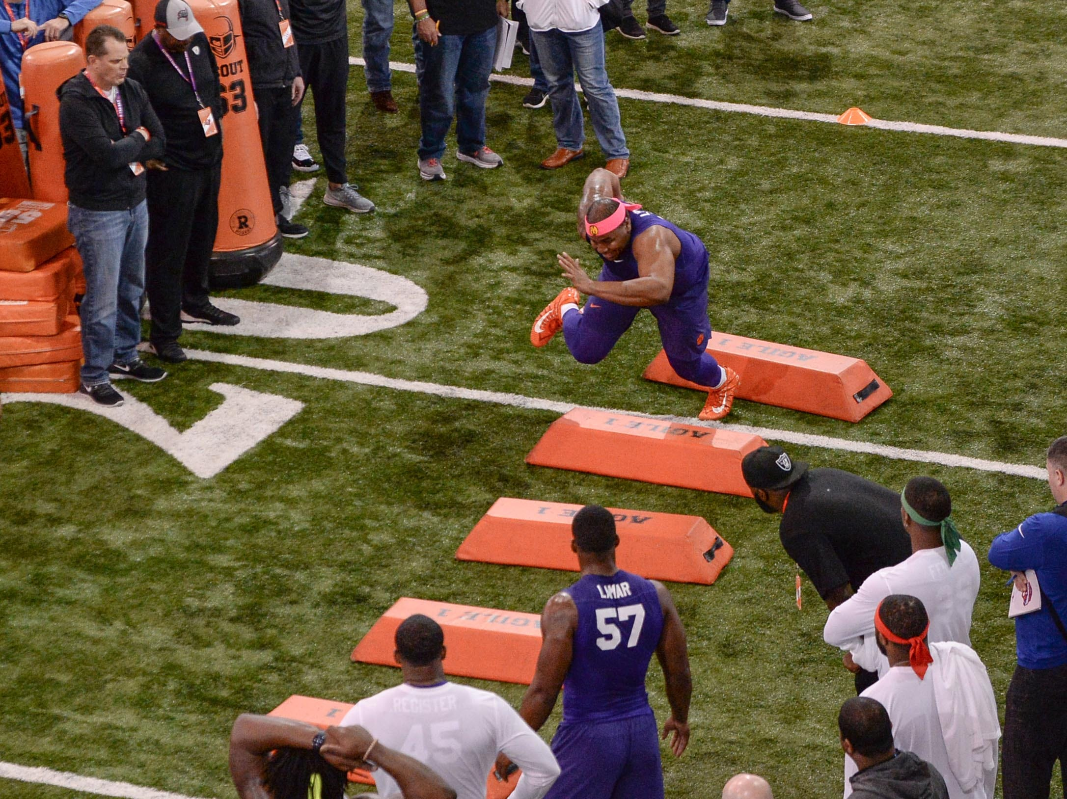 Defensive lineman Dexter Lawrence runs during Clemson pro day at the Poe Indoor Facility in Clemson Thursday, March 14, 2019.