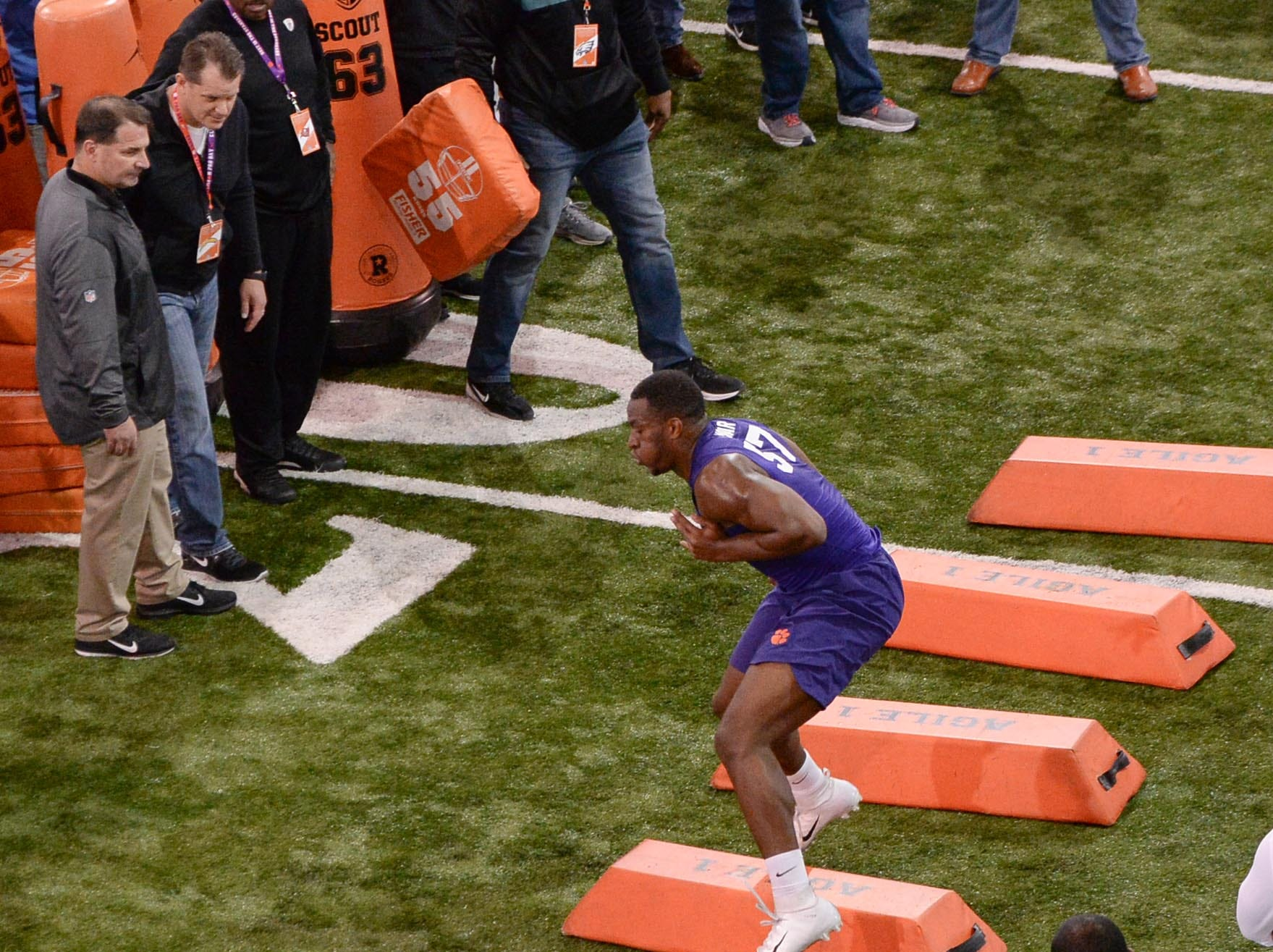 Defender Tre Lamar III runs during Clemson pro day at the Poe Indoor Facility in Clemson Thursday, March 14, 2019.