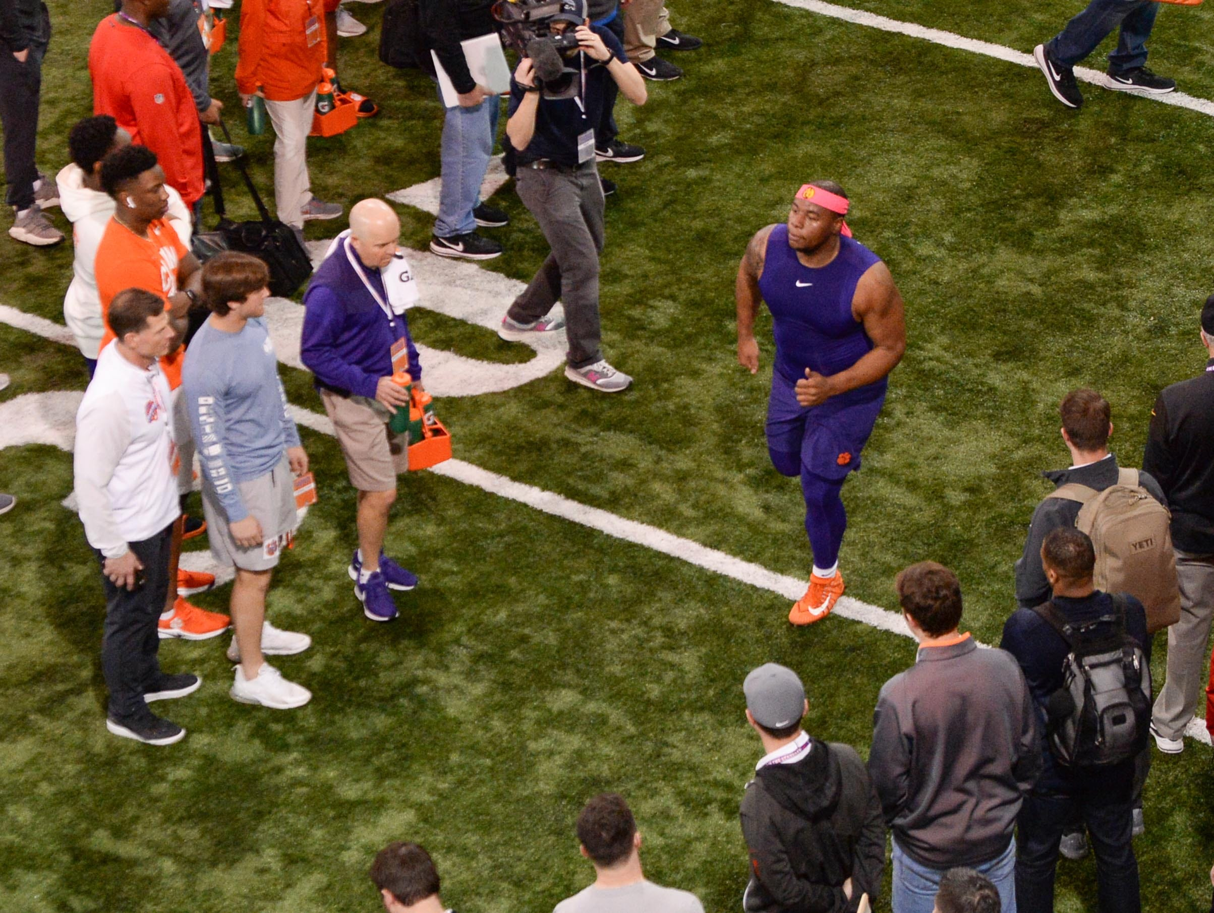 Defensive lineman Dexter Lawrence runs in a drill during Clemson pro day at the Poe Indoor Facility in Clemson Thursday, March 14, 2019.