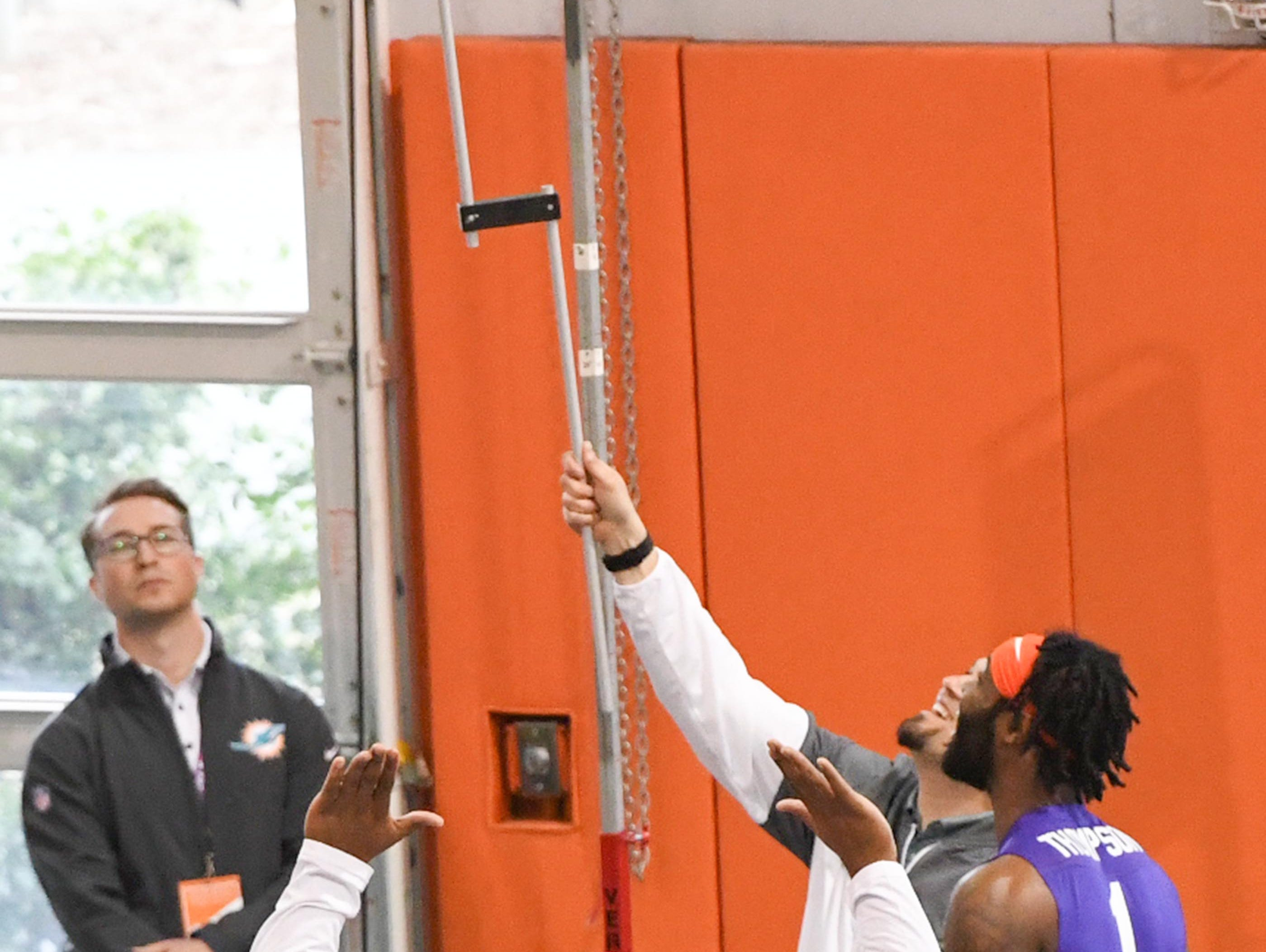 Wide receiver Trevion Thompson vertical leap of 36 inches during Clemson pro day at the Poe Indoor Facility in Clemson Thursday, March 14, 2019.