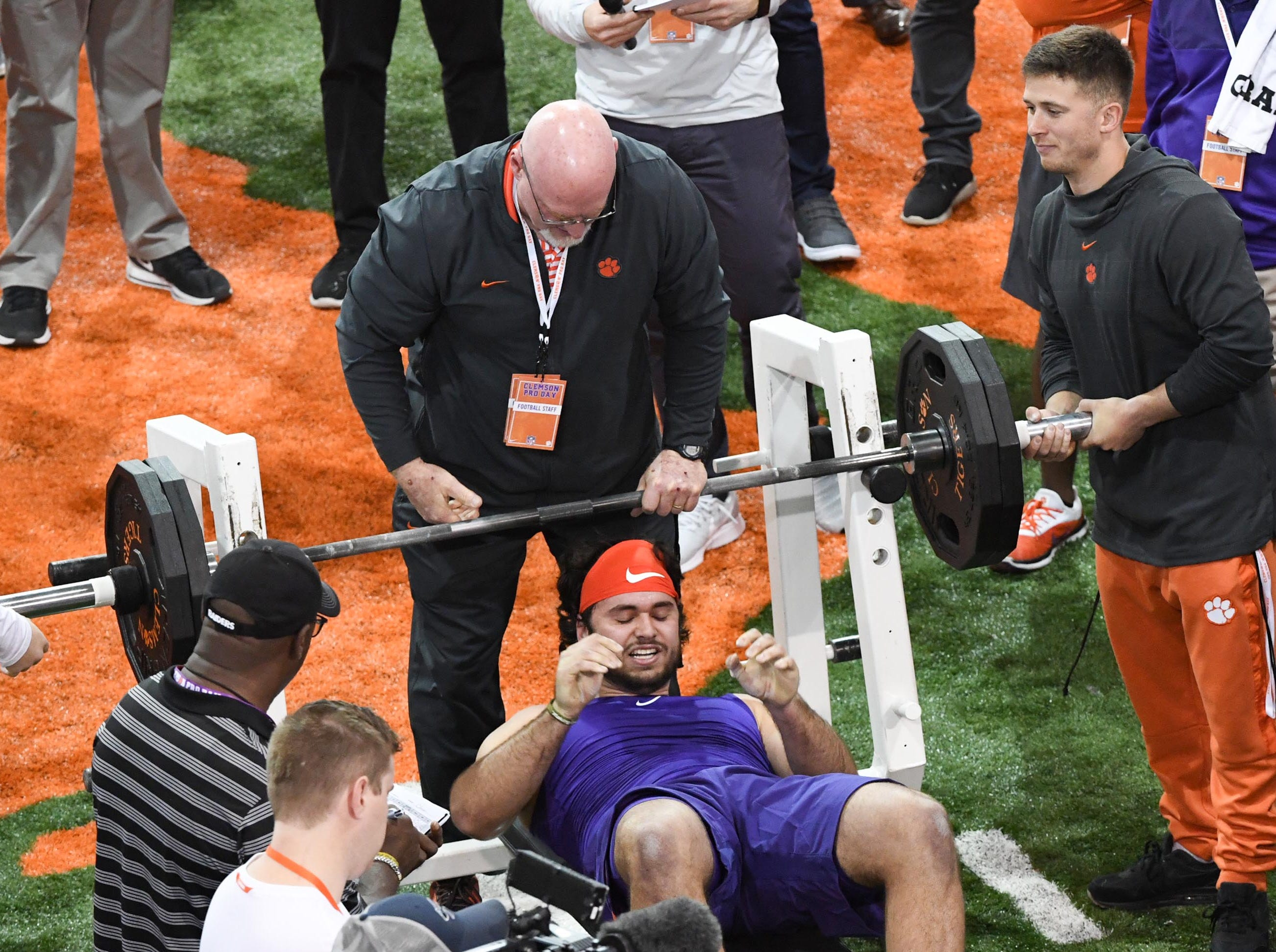Tight end Cannon Smith III bench presses 225 pounds 26 times during Clemson pro day at the Poe Indoor Facility in Clemson Thursday, March 14, 2019.