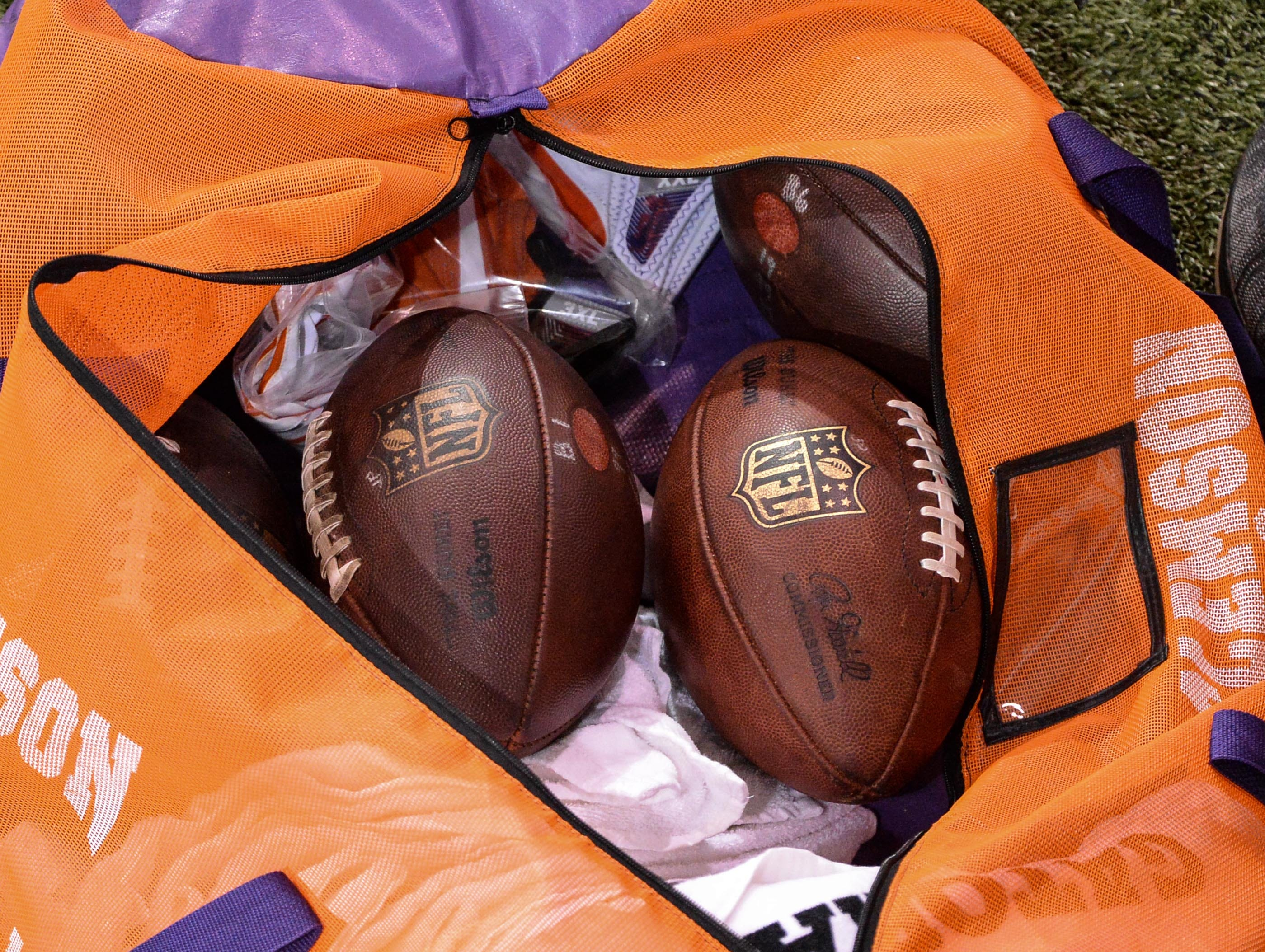 NFL footballs during Clemson pro day at the Poe Indoor Facility in Clemson Thursday, March 14, 2019.