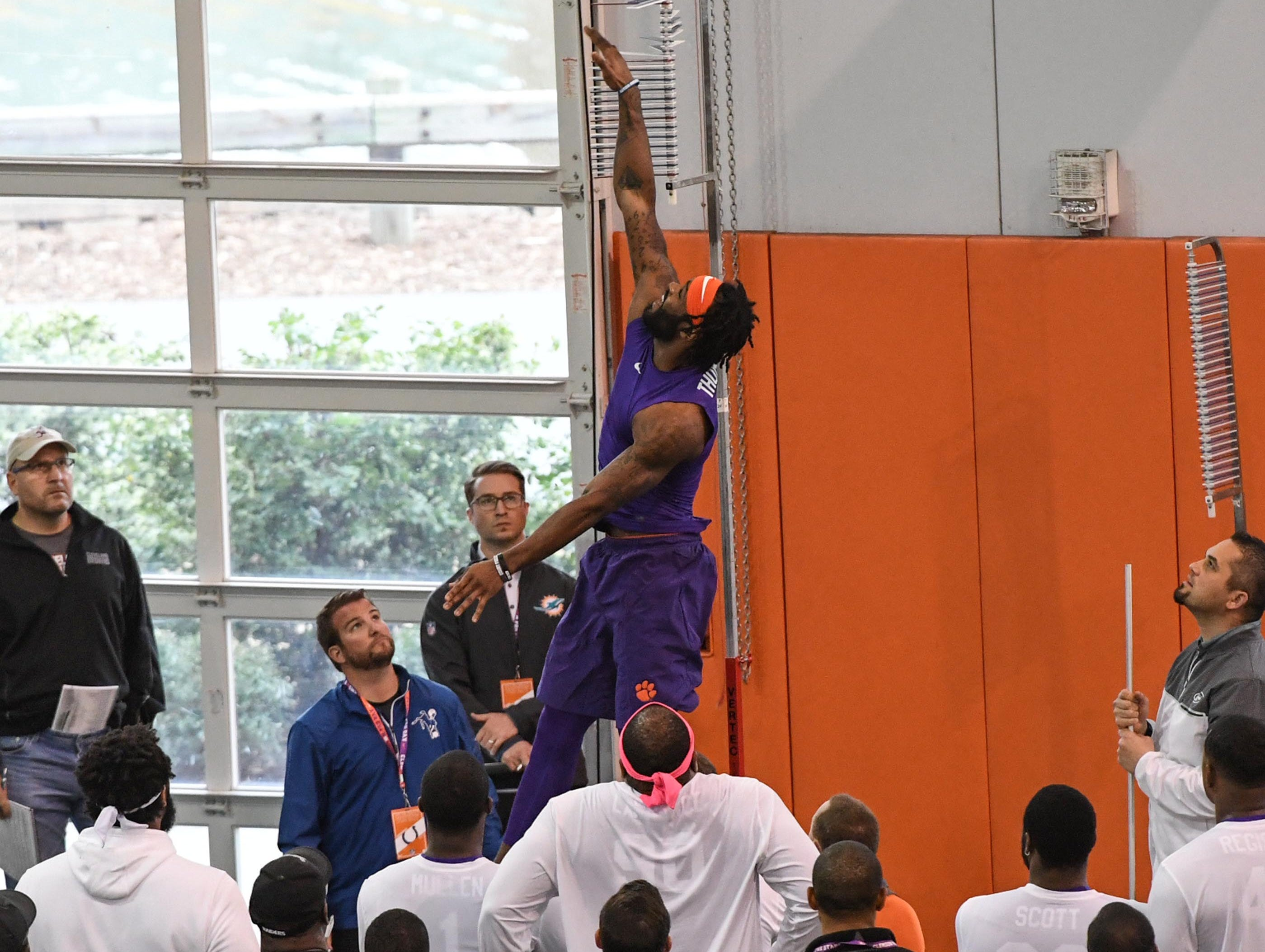 Wide receiver Trevion Thompson is tested for vertical jump during Clemson pro day at the Poe Indoor Facility in Clemson Thursday, March 14, 2019.