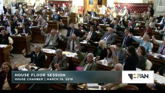 The Montana House of Representatives gives a thumbs up to Christina Koch of Livingston, a NASA astronaut who launched into space for the International Space Station on Thursday.