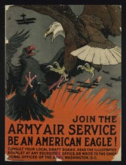 A World War I recruiting poster for the U.S. Army Air Service, the forerunner of the U.S. Air Force, in which at least eight Henderson County men served in during the war. Only one, Lt. Fred W. Nicholson, saw action during the conflict. In fact, Nicholson was leader of a squadron. Two other local fliers  served in France.