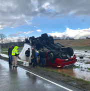 A semi was flipped over during the storm by winds on HWY 109 in Union County, KY on Thursday, March 14, 2019.