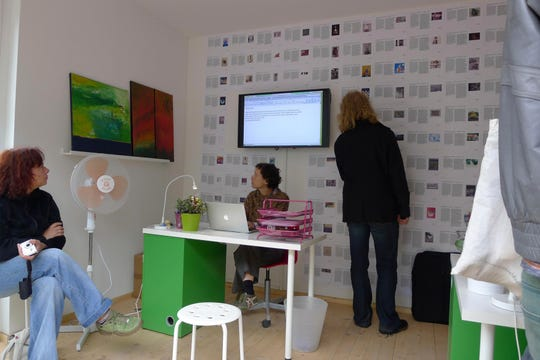 """Lori Waxman works on """"60 wrd/min art critic"""" in 2012 in Kassel, Germany. She'll be at the Herron School of Art and Design from April 30 to May 2."""