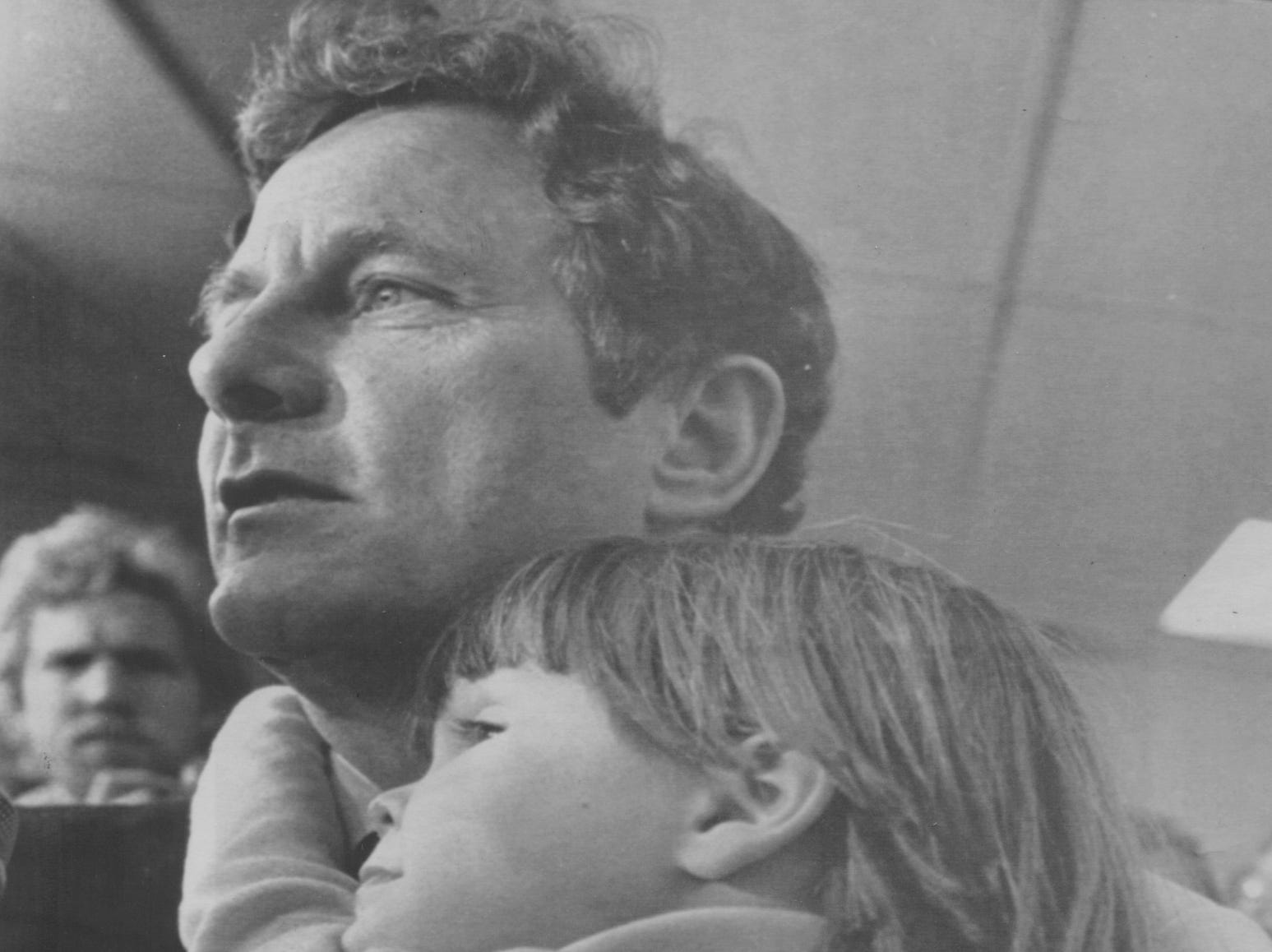 Nov. 5, 1980: Sen. Birch Bayh, D-Ind., holds 4-year-old Casey Senden of Indianapolis as he greets campaign workers and the news media after losing his Senate seat to Republican Dan Qualye of Fort Wayne. Bayh was seeking an unprecedented fourth term as senator from Indiana.