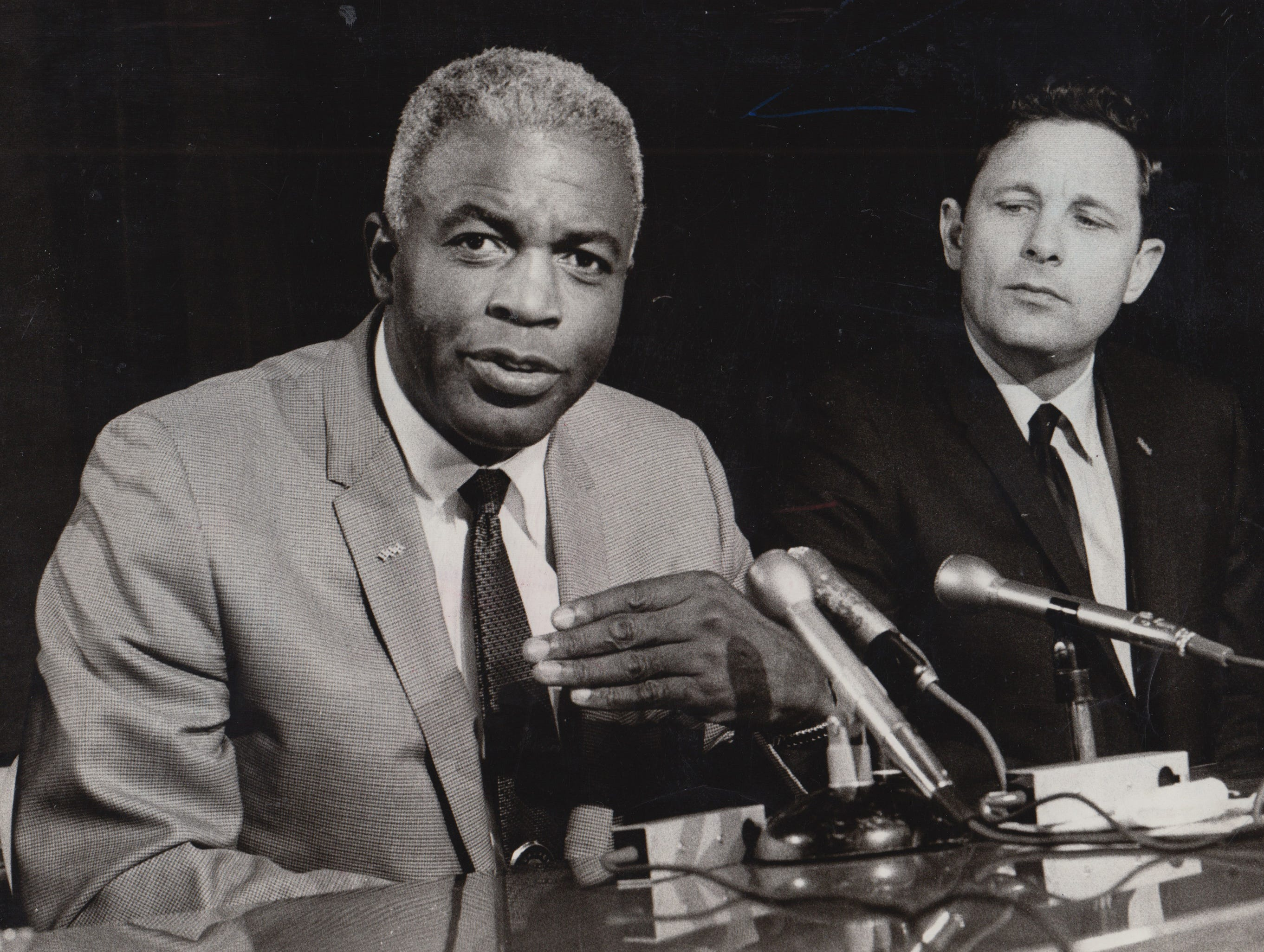 Baseball great Jackie Robinson campaigned for Senator Birch Bayh on Oct. 24, 1968