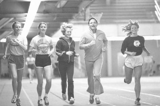 Sen. Birch Bayh worked out with women athletes at Purdue University in 1972, the same year Title IX was passed.