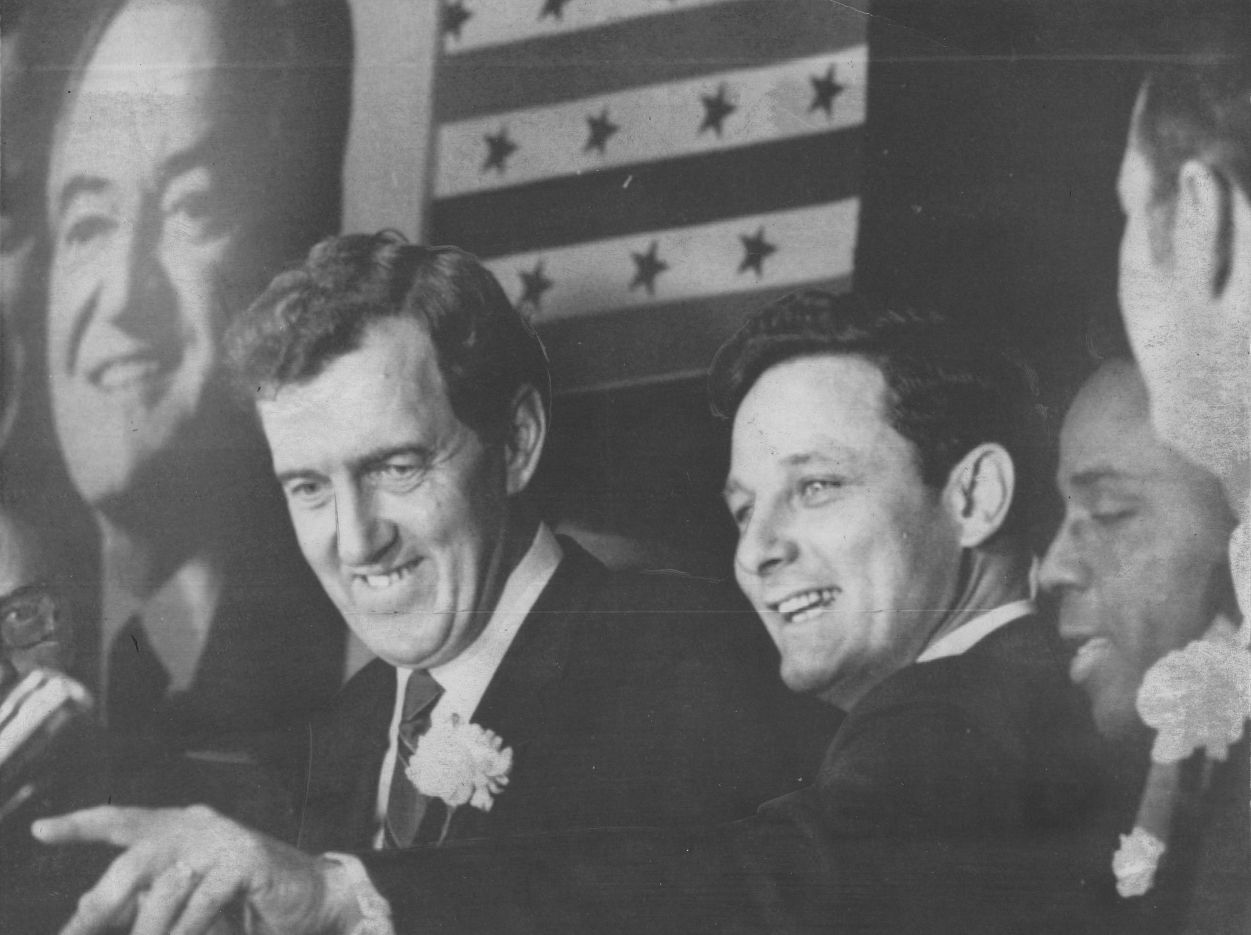 Hammond, IN Oct 18, 1968: Speaking at $100-a-plate dinner in Democratic stronghold, Lake County, Indiana Sen. Edmund. S. Muskie, seen with Indiana senator, Birch Bayh, and Gary mayor Richard G. Hatcher, with their favorite on a poster in background, H. H. Humphrey.