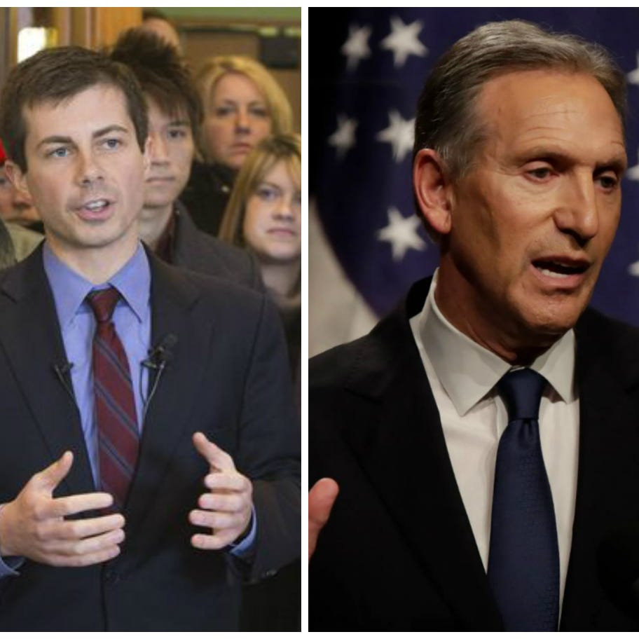 LEFT: South Bend, Indiana, Mayor Pete Buttigieg. RIGHT: Starbucks Chairman and CEO Howard Schultz.