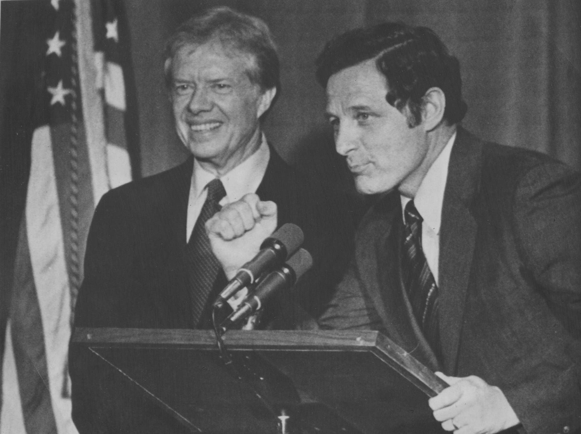 Senator Birch Bayh plugs for President Jimmy Carter's re-election on June 4, 1979.