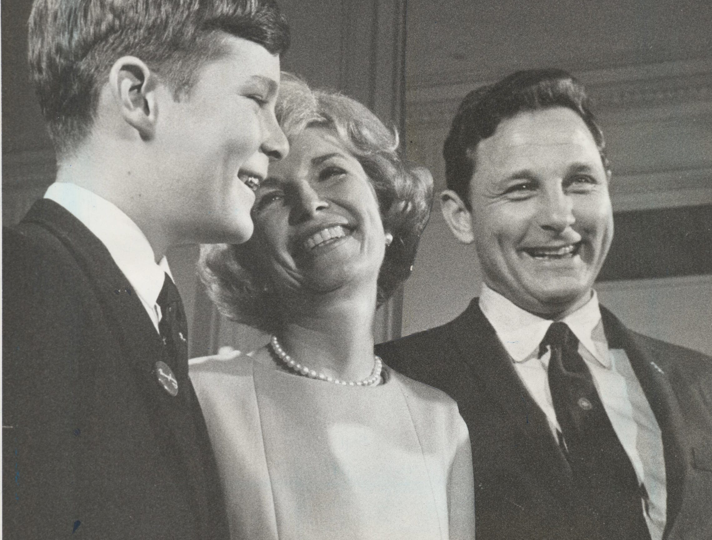 Good humor abounds in the Birch Bayh family following his re-election as U.S. senator. With him are his son, Evan, and his wife, Marvella. (11/06/1968)
