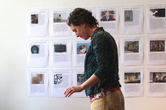 """For """"60 wrd/min art critic,"""" critic Lori Waxman has her reviews posted on the wall for others to read. She took the program in 2015 to Fort Gondo Compound for the Arts in St. Louis."""