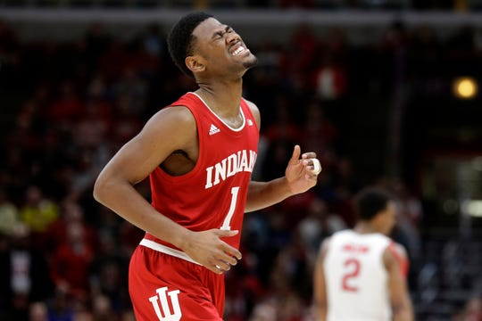 Indiana's Aljami Durham (1) rears as he walks off the court during the second half of an NCAA college basketball game against the Ohio State in the second round of the Big Ten Conference tournament, Thursday, March 14, 2019, in Chicago. (AP Photo/Kiichiro Sato)