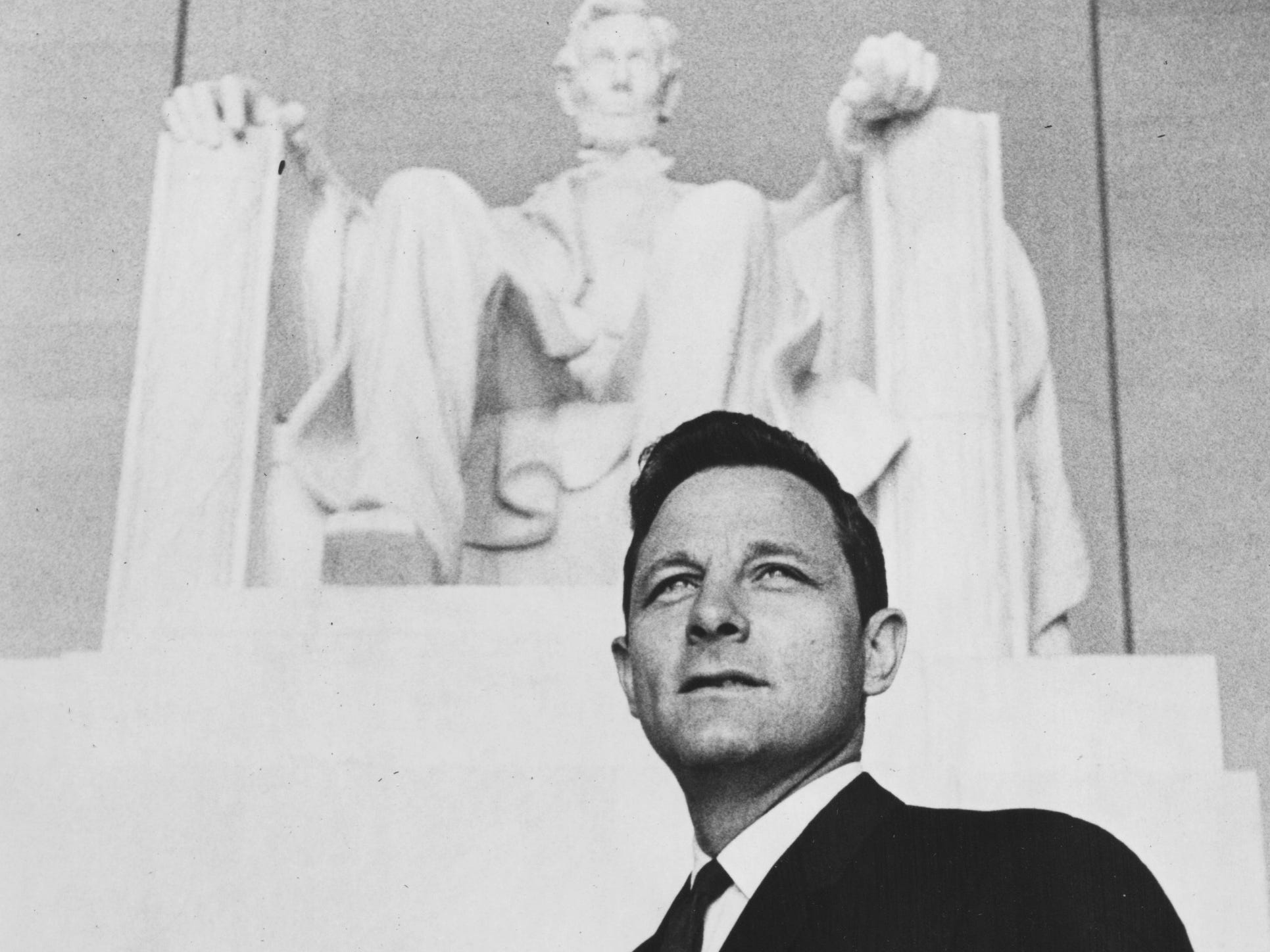 Birch E. Bayh in front of the Lincoln Memorial. (06/18/1968)
