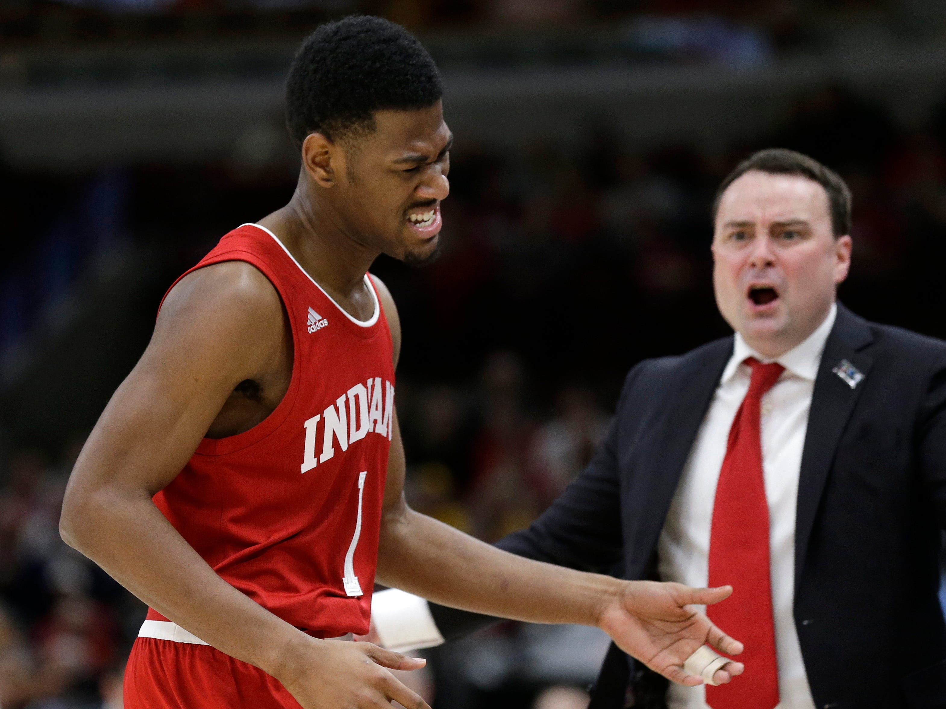 Indiana Hoosiers head coach Archie Miller reacts as Aljami Durham (1) walks off the court during the second half of an NCAA college basketball game against the Ohio State in the second round of the Big Ten Conference tournament, Thursday, March 14, 2019, in Chicago. (AP Photo/Kiichiro Sato)