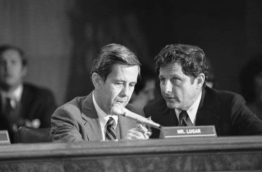 Sen. Richard Lugar, R-Ind., left, and Sen. Birch Bayh, D-Ind., at a hearing on Capitol Hill in Washington, D.C., in 1980.