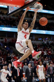Ohio State's Duane Washington Jr. (4) duns during the second half of an NCAA college basketball game against the Indiana in the second round of the Big Ten Conference tournament, Thursday, March 14, 2019, in Chicago. The Ohio State won 79-75. (AP Photo/Nam Y. Huh)