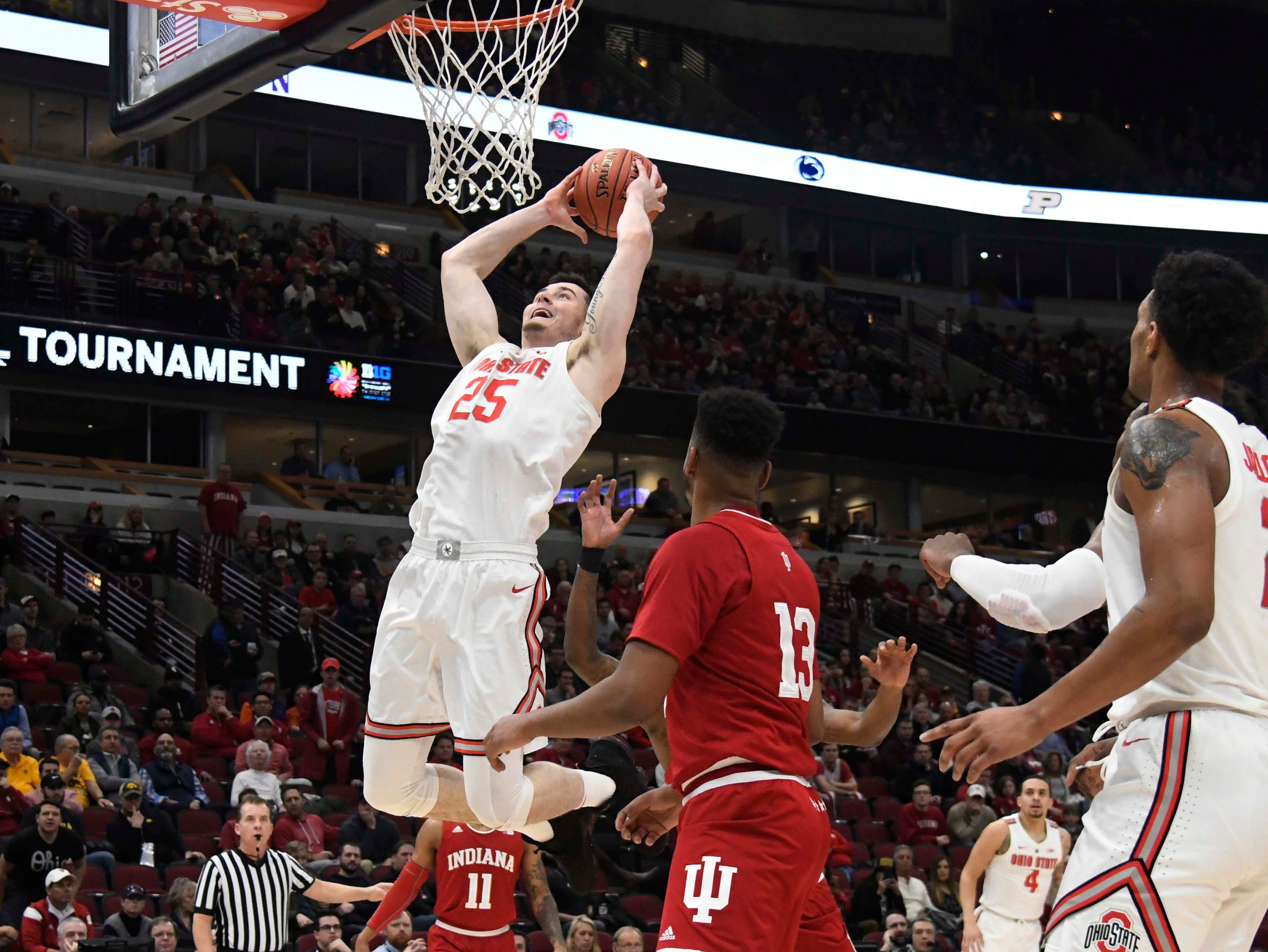 Mar 14, 2019; Chicago, IL, USA; Ohio State Buckeyes forward Kyle Young (25) goes up for a shot against the Indiana Hoosiers during the first half in the Big Ten conference tournament at United Center. Mandatory Credit: David Banks-USA TODAY Sports