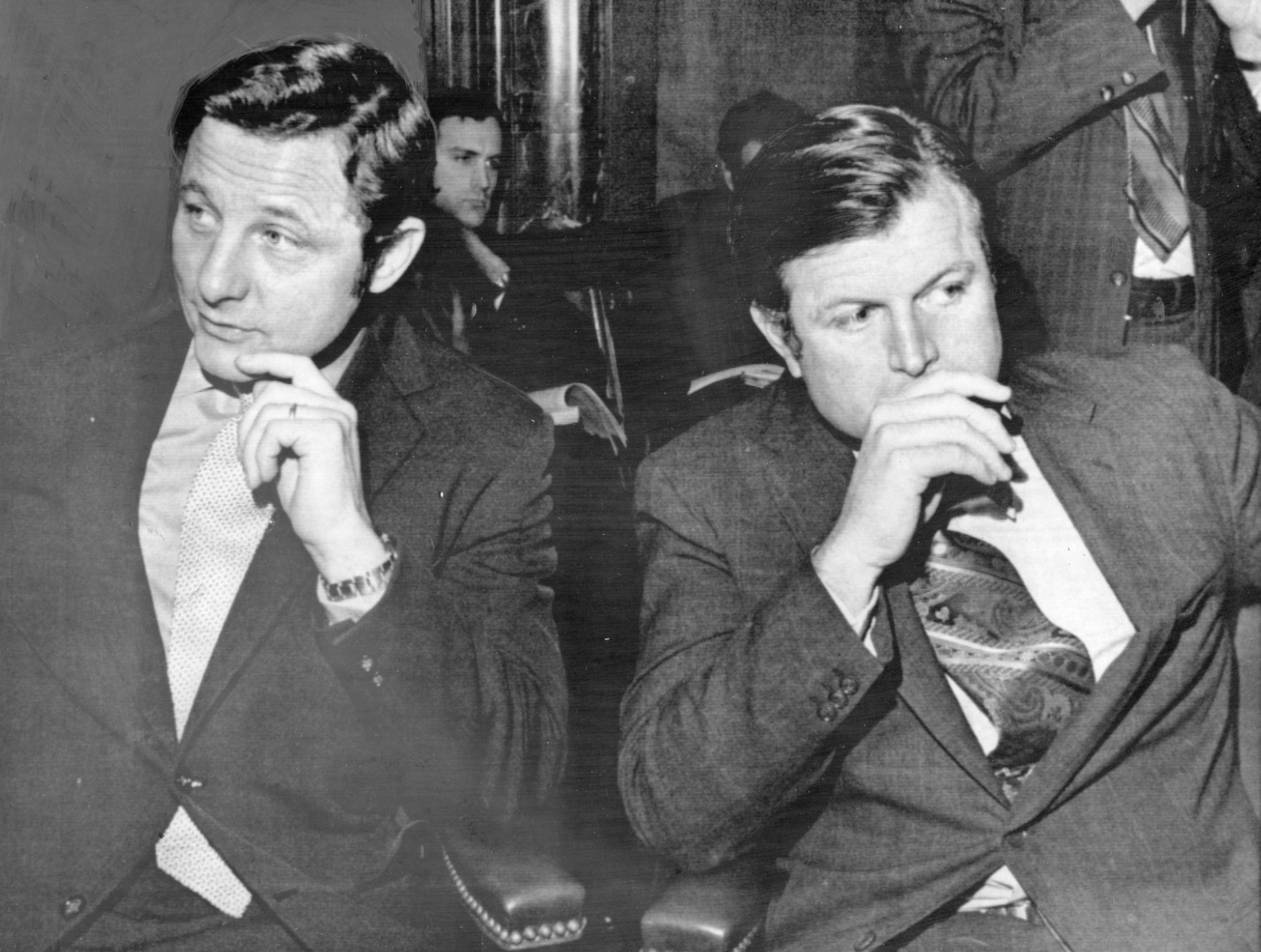 Senators Birch Bayh (D-Ind.), left, and Edward M. Kennedy (D-Mass.), members of the Judiciary Committee which had been screening Supreme Court nominees, await the start of  hearings which included testimony from opposing witnesses on Nov. 10, 1971.