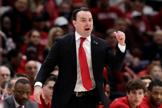 Indiana coach Archie Miller directs his team during the first half of an NCAA college basketball game against the Ohio State in the second round of the Big Ten Conference tournament, Thursday, March 14, 2019, in Chicago.
