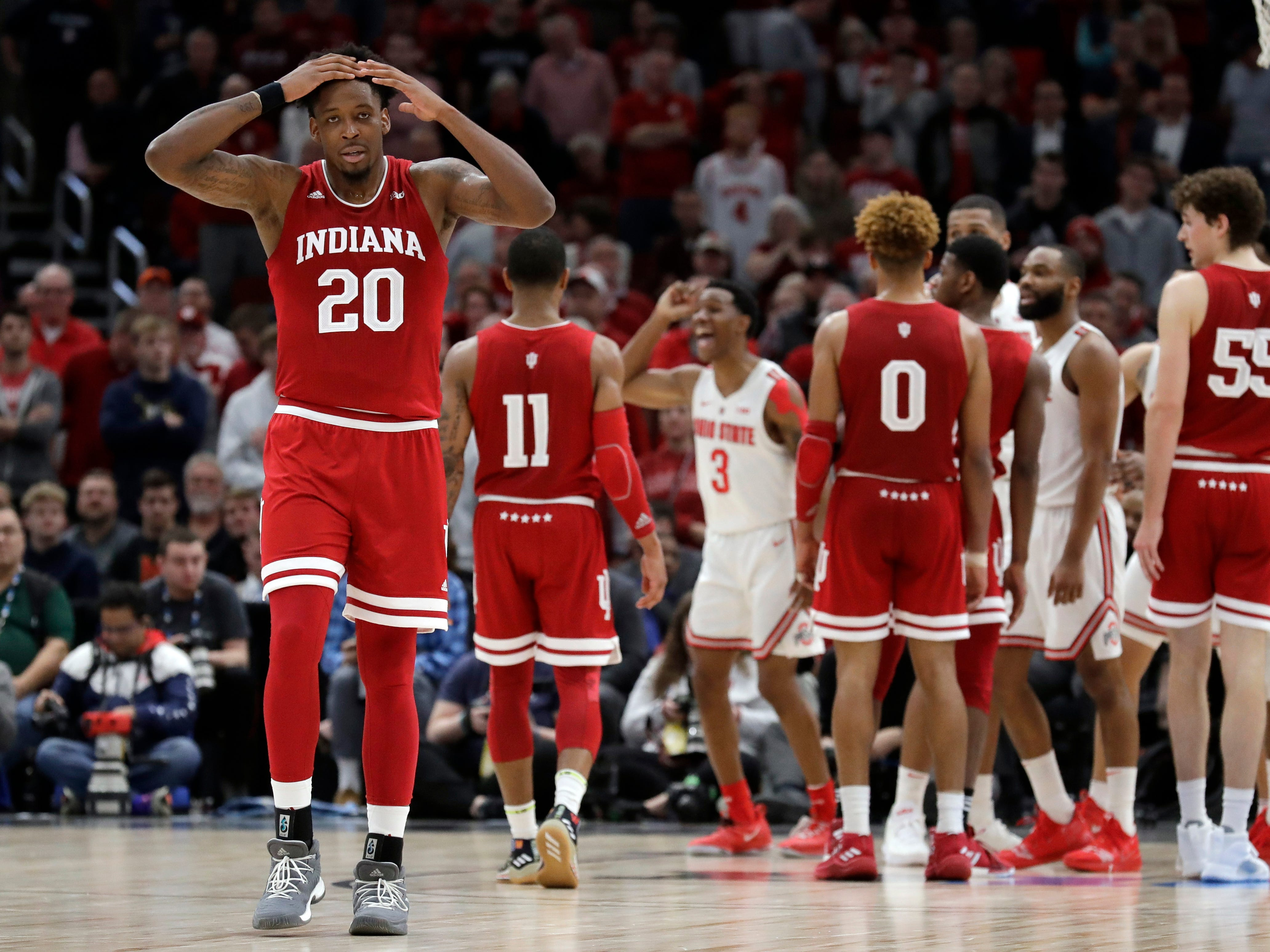 Indiana's De'Ron Davis (20) reacts to an offensive foul call during the second half against the Ohio State in the second round of the Big Ten tournament, Thursday, in Chicago. The Ohio State won 79-75.
