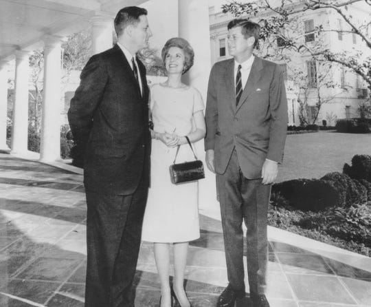 "Senator-elect and Mrs. Bayh visit President John F. Kennedy at the White House on Nov. 16, 1962. Kennedy urged the Hoosier Democrat  ""to get good office staff."""