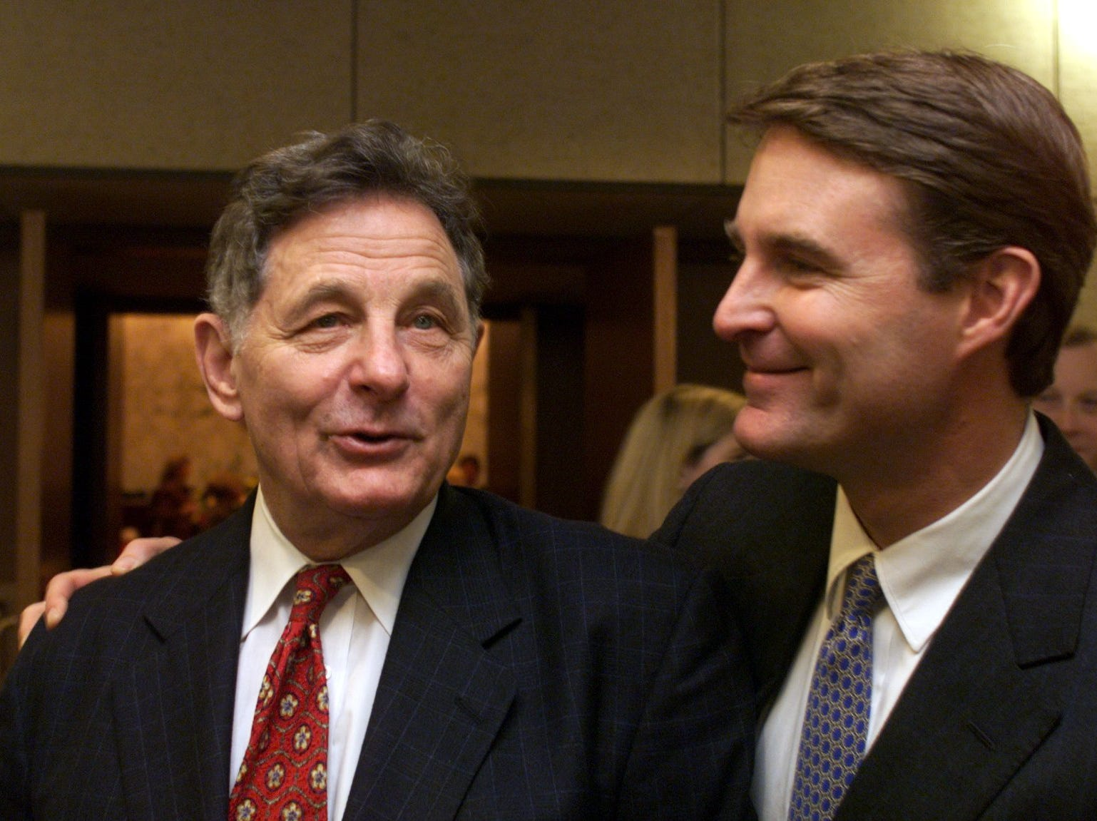 1/13/99   Former U.S. Senator Birch Bayh and son Evan say goodbye following a reception in the Hart Senate Office Building  Wednesday, Jan. 6.  Photo...Rich Miller  (George Stuteville story  slug: Bayh17 #19rm file # 34903 scans 1A)