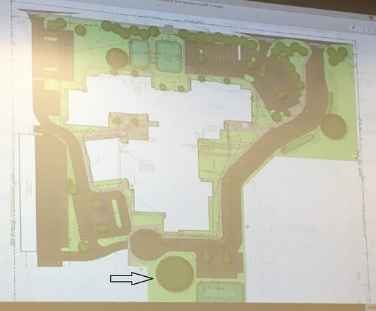 A picture of the updated site plan that would preserve the more than 200-year-old bur oak tree at Eastwood Middle School. This plan was announced at the Washington Township School District board meeting Wednesday night, March 13, 2019.