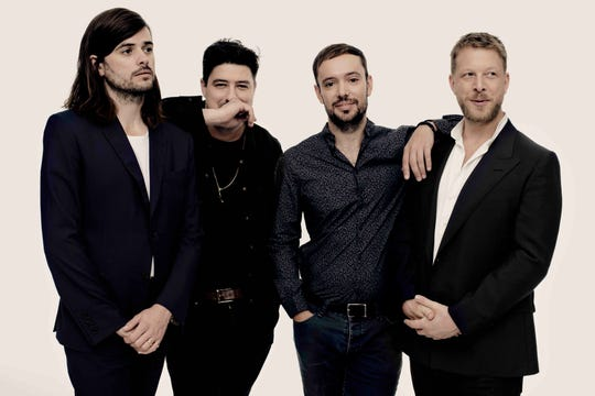 Mumford & Sons (from left, Winston Marshall, Marcus Mumford, Ben Lovett and Ted Dwane) will perform March 25 in Indianapolis.