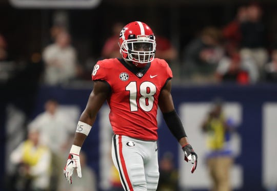 Dec 1, 2018; Atlanta, GA, USA; Georgia Bulldogs defensive back Deandre Baker (18) prepares for a defensive play against the Alabama Crimson Tide during the SEC championship game at Mercedes-Benz Stadium.