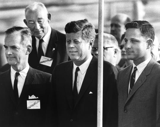 Gov. Matthew Welsh, President John F. Kennedy and Birch Bayh, candidate for US Senate, during a rally at the Weir Cook Airport Oct. 13, 1962. President Kennedy made a one hour campaign stop for Indiana Democratic candidates.