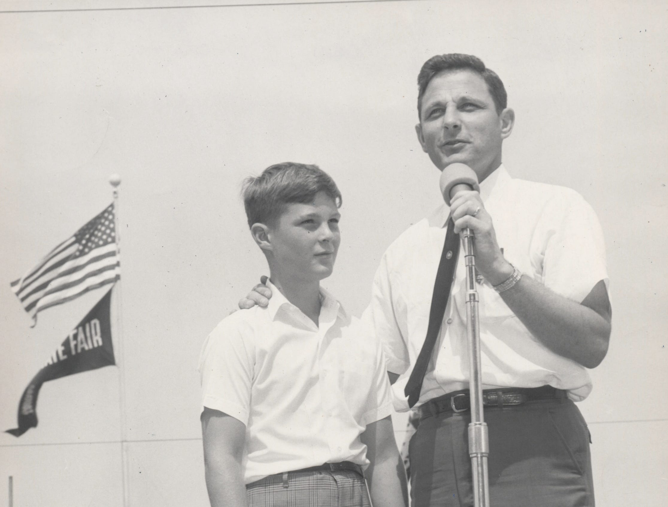 Sen Birch Bayh and his 12-year old son, Evan Bayh at the Indiana State Fair in 1968.