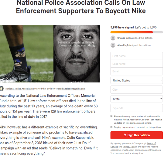 In a Change.org petition, the National Police Association called for a boycott of Nike.