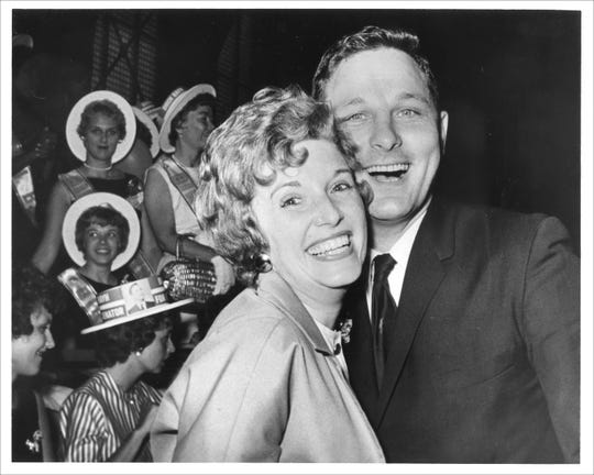June 22, 1965.Rep Birch Bayh and his wife Marvella smile at Indiana State Democratic Convention in the Fairgrounds Coliseumafter he won the Democratic nomination for U.S. Senator. Charles Boswell, an Indianapolis mayor, had run againsthim.