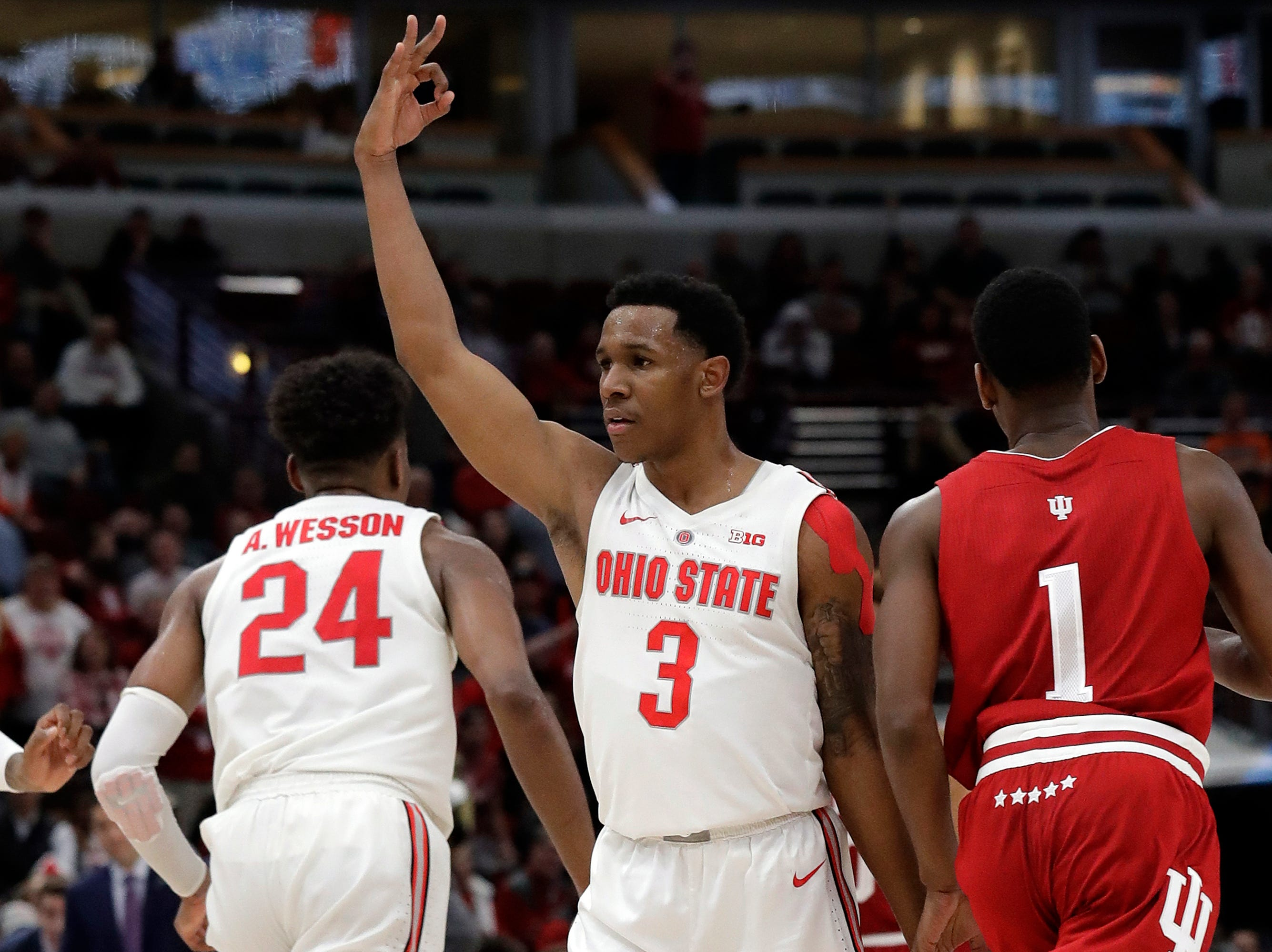 Ohio State's C.J. Jackson (3) reacts after making a 3-point basket during the second half of an NCAA college basketball game against the Indiana in the second round of the Big Ten Conference tournament, Thursday, March 14, 2019, in Chicago. The Ohio State won 79-75. (AP Photo/Nam Y. Huh)