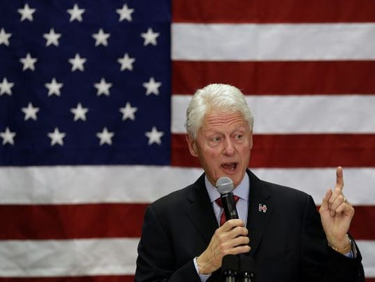 President Bill Clinton campaigns for wife Hillary Clinton at the Hillary for Indiana office in Indianapolis on April 26, 2016.