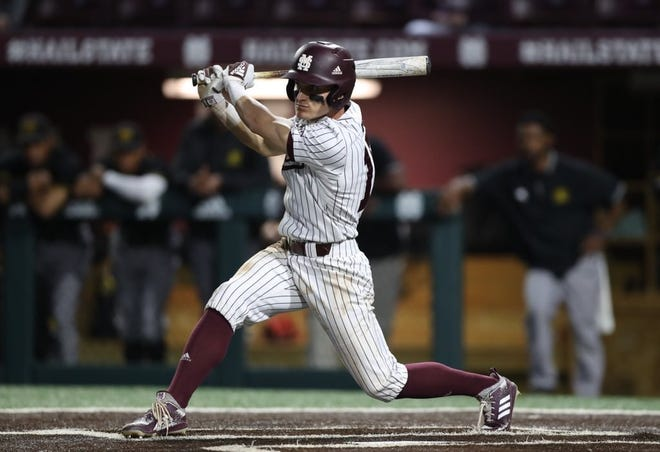Mississippi State senior center-fielder Jake Mangum continues to rise through the ranks of the program's all-time hits leaders.