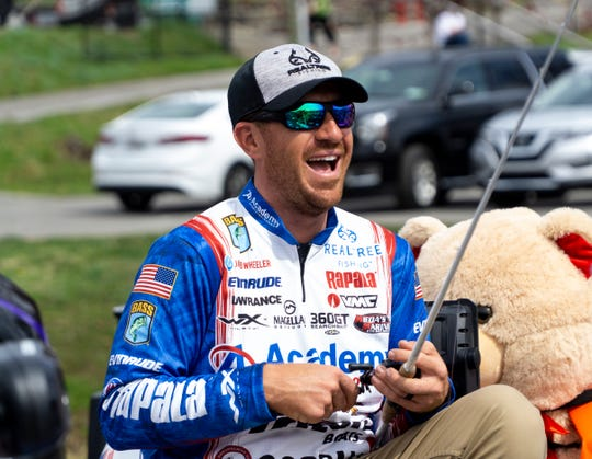 Jacob Wheeler, who won the Bassmaster Elite competition on Cherokee Lake in 2017, laughs during Bassmaster's media day in advance of the Bassmaster Classic in Knoxville this weekend.