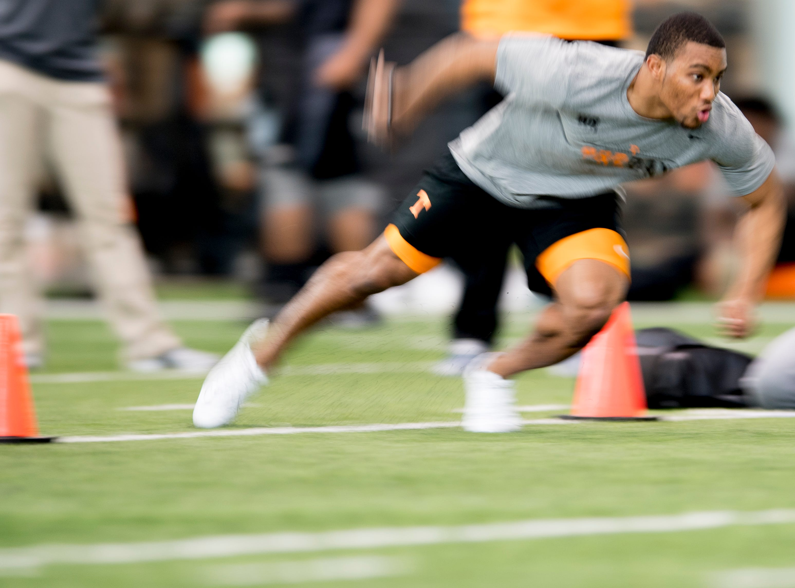 Malik Elion does the three-cone-drill at Tennessee Pro Day at Anderson Training Facility in Knoxville, Tennessee on Thursday, March 14, 2019. Draft prospects from Tennessee and other schools worked out before NFL scouts.