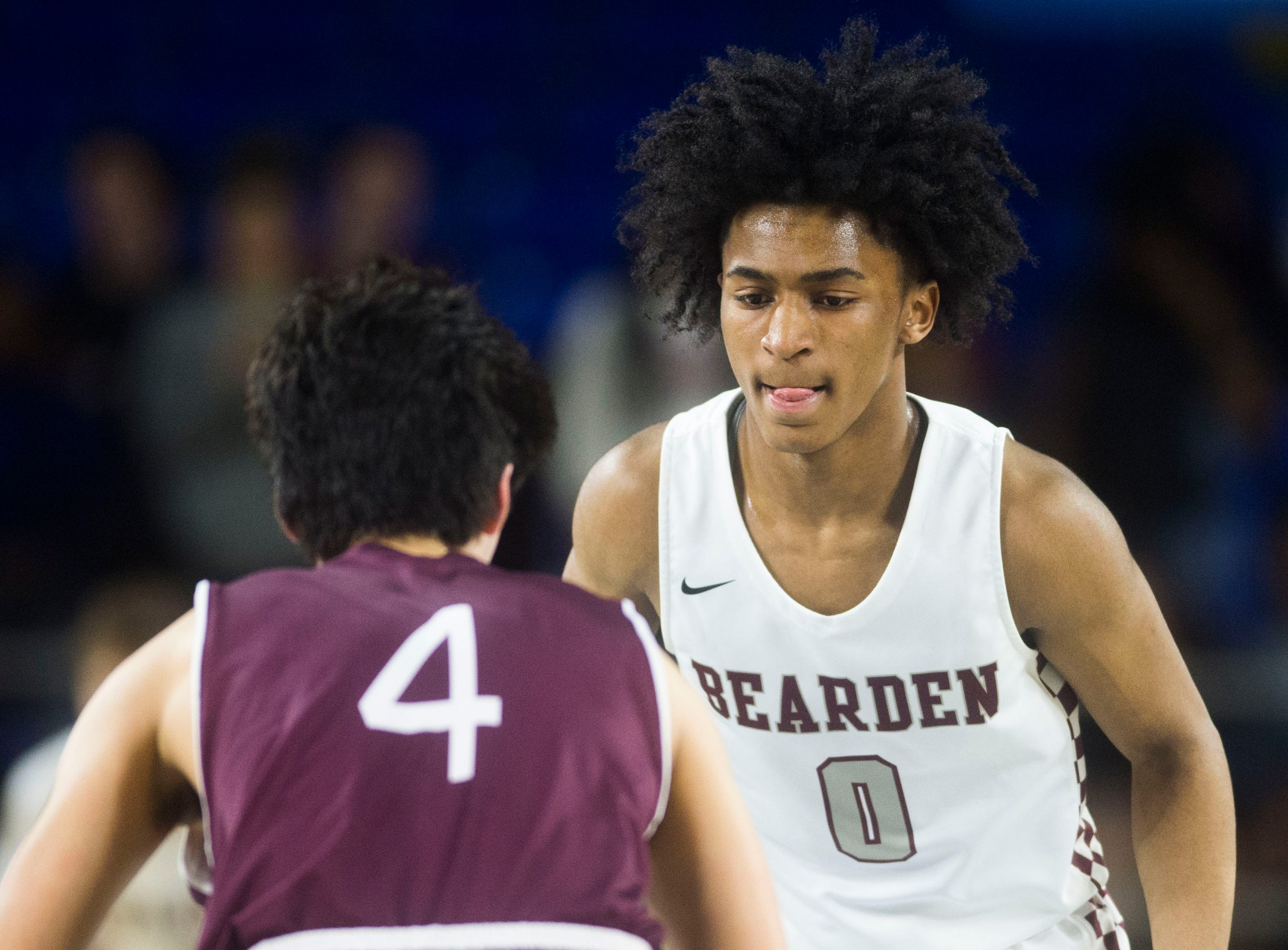Bearden's Ques Glover (0) defends Franklin's Reed Kemp (4) during a TSSAA AAA state quarterfinal game between Bearden and Franklin at the Murphy Center in Murfreesboro, Wednesday, March 13, 2019.